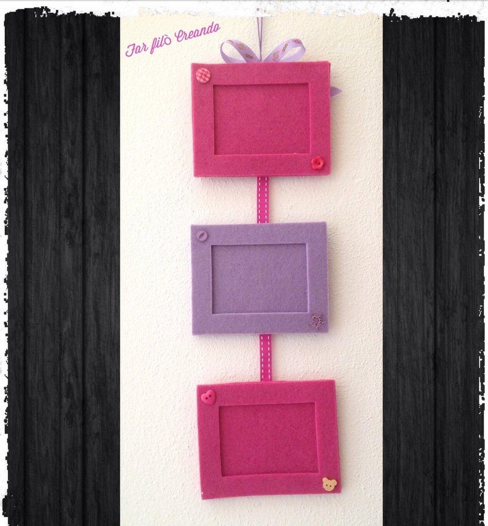 Cornice porta foto in feltro e bottoni