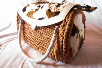Bauletto  in fettuccia di cotone stretch  fatta a mano all'uncnetto, Crochet hand made