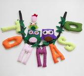 Tommaso: nome in lettere di stoffa decorate con gufi e gufetti per decorare la camera del tuo bambino