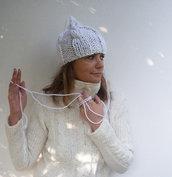 Cappello donna bianco con filo dorato Moda donna autunno inverno Stile italiano