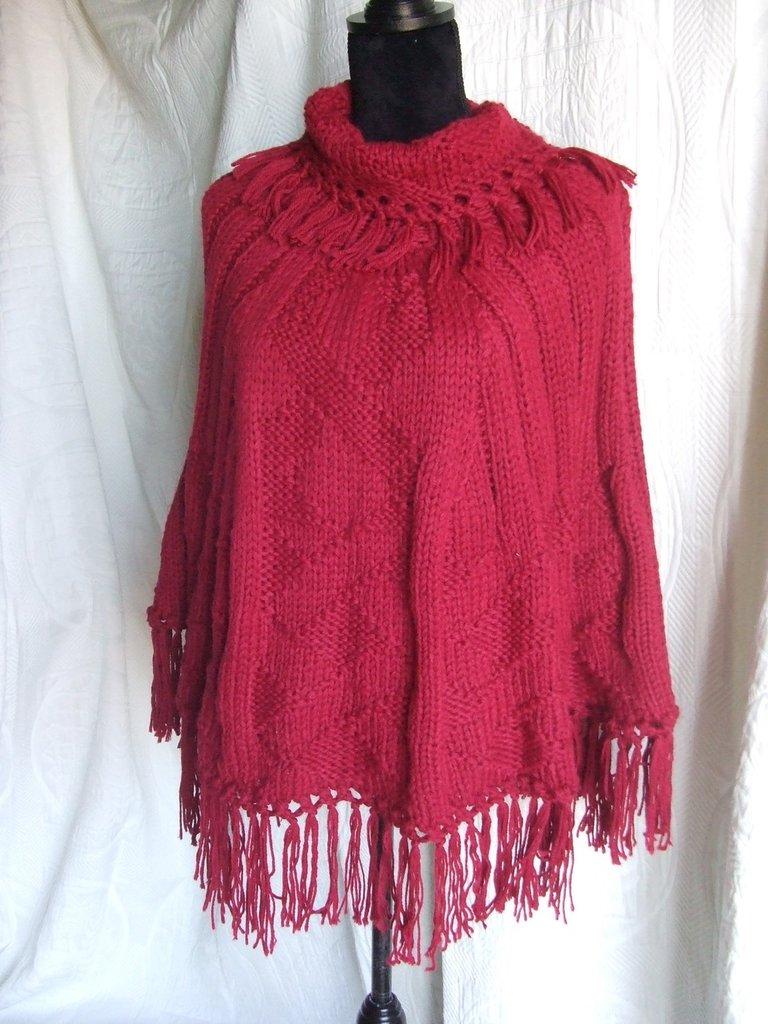 poncio giacca cappotto donna maglia lana