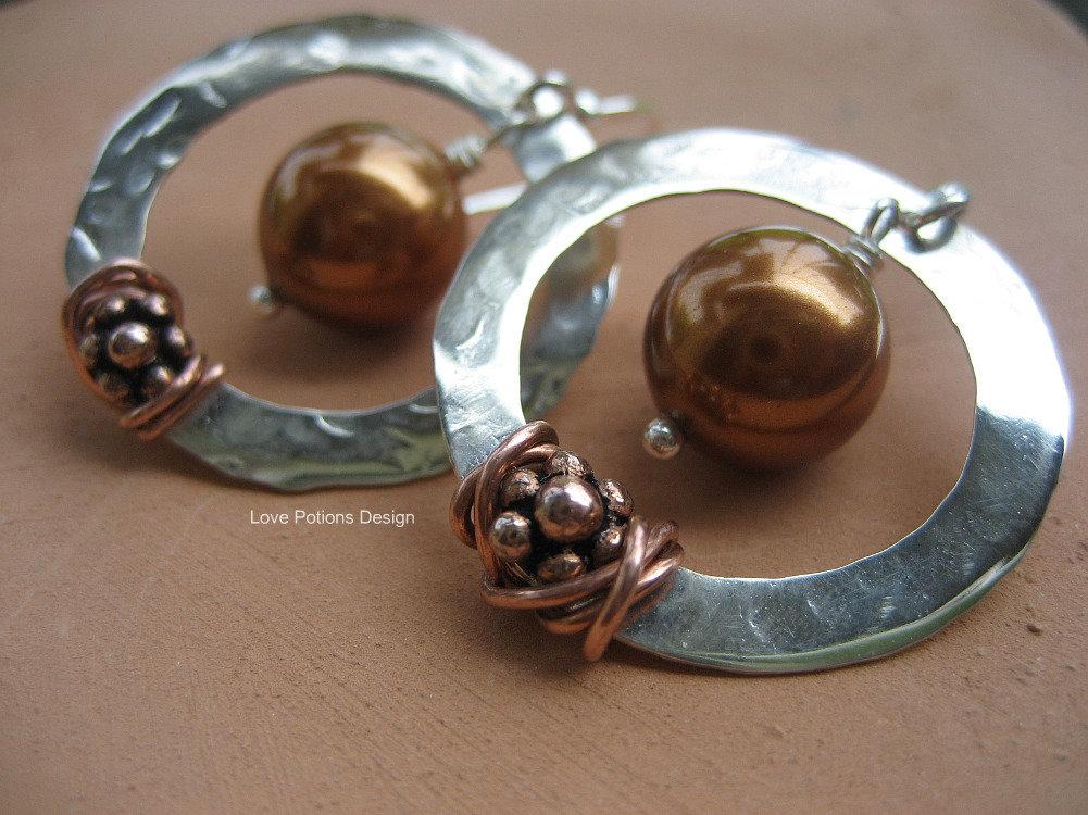 Orecchini in Argento 925 con Swaroski e Rame. Sterling Silver Earrings with Copper and Swaroski Crystal. Spedizione Gratuita.