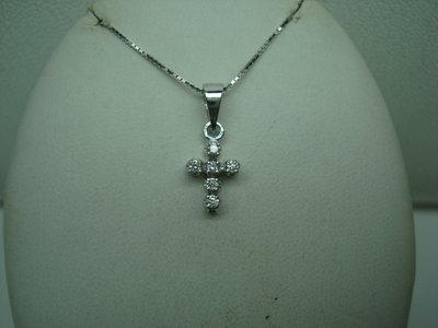 Ciondolo croce + collana realizzata a mano in oro 18kt e diamanti