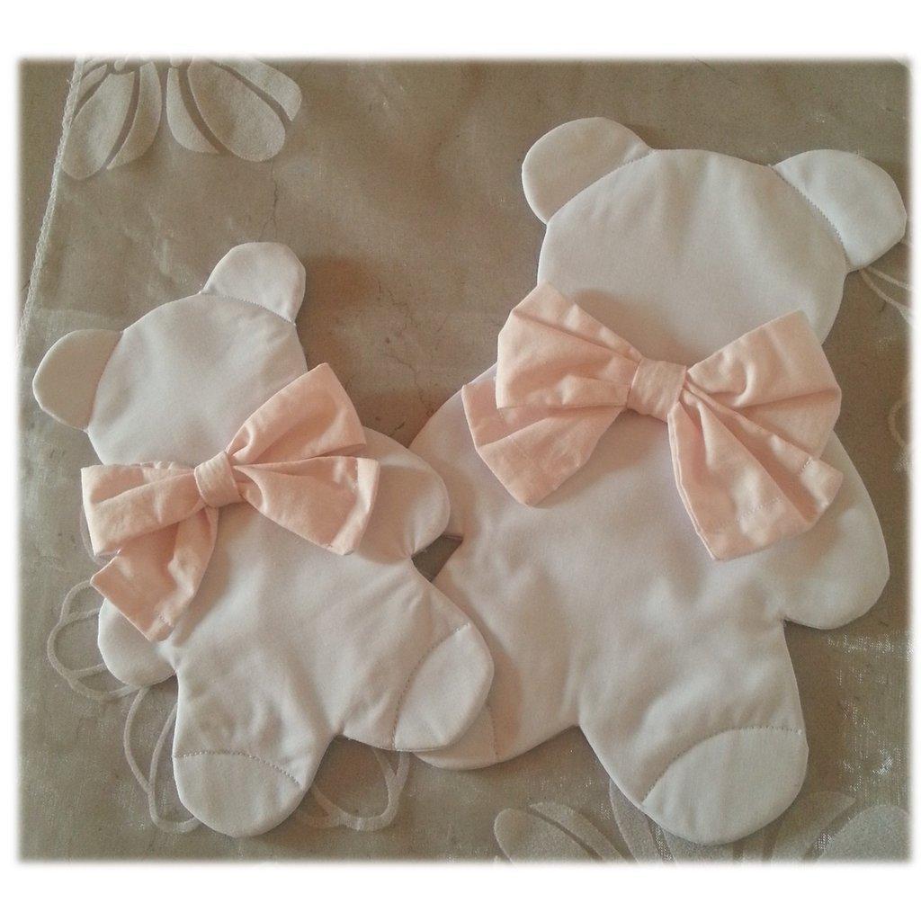 Set 2 patches toppa orsetto orso fiocco termoadesivo