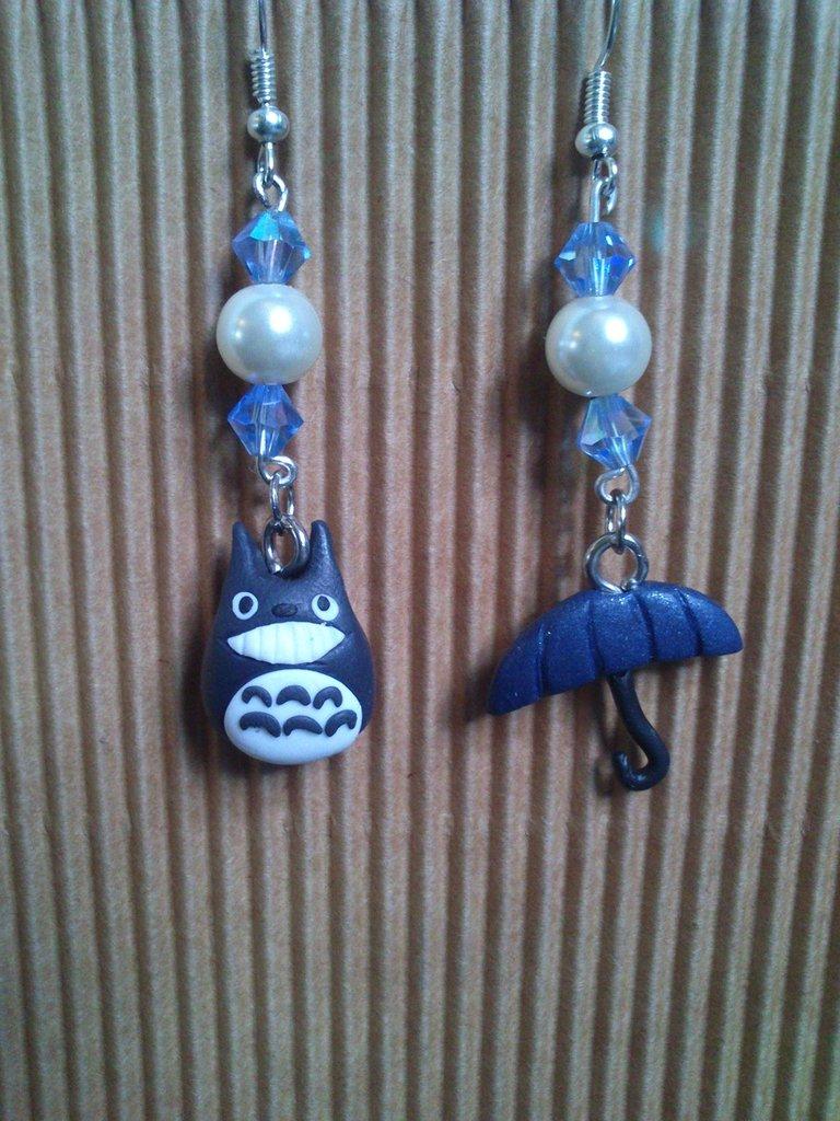 ORECCHINI ANIME - TOTORO con ombrello - cristalli swarovski e perla