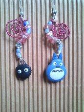 ORECCHINI ANIME - TOTORO e nerino del buio con quarzo rosa