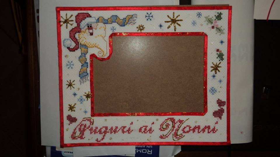 quadro ricamo punto croce regalo Natale bimbi artigianale