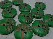 6 Bottoni in legno colore VERDE