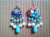 ORECCHINI bambolina azzurra con perle e pietre dure