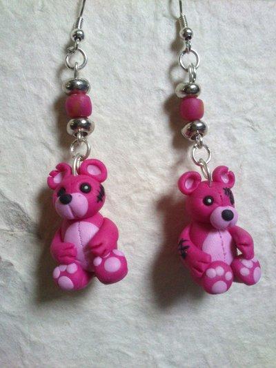 ORECCHINI con orsetti zombie rosa