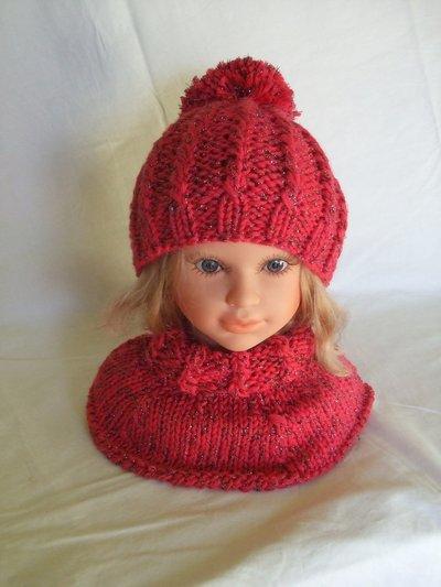 cappello +scalda collo bimba lana maglia