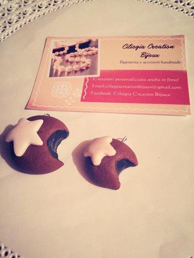 Ciondoli mooncake in fimo con colata cioccolato
