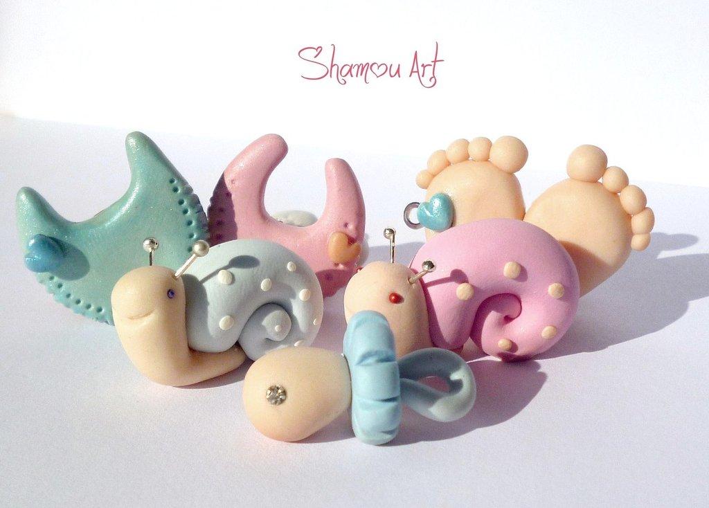 Bomboniere nascita fimo,bomboniere fatte a mano, bomboniere bambini personalizzate,sacchetto organza,porta confetti bimbi