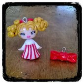 Ciondoli Candy Candy e fiocchetto fatti a mano in fimo (orecchini, braccialetto, portachiavi, ...)