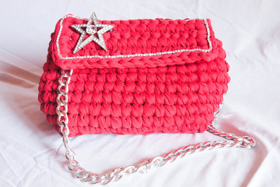 Bauletto  in fettuccia in lycya   fatta a mano all'uncinetto, Crochet hand made