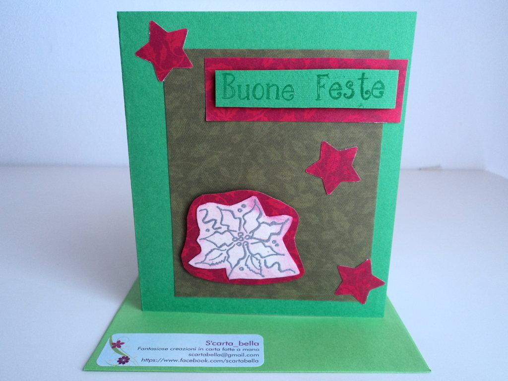 Biglietto auguri Buone Feste in verde e rosso con stella di Natale
