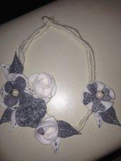 collana in pannolenci con  fiori grigi e panna fatta a mano