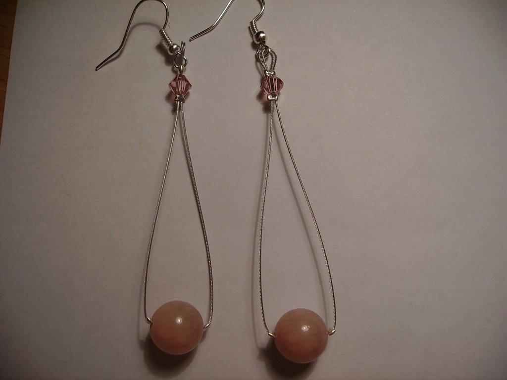 Orecchini swarowsky e pietra rosa