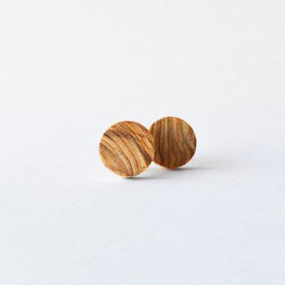Orecchini circolari in legno, fatti a mano