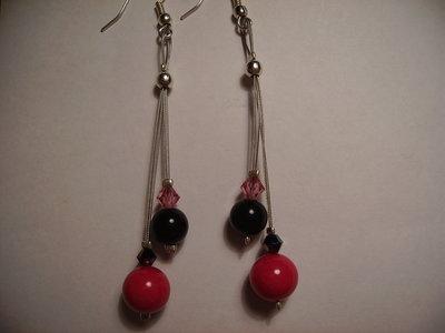 Orecchini 2 pendenti swarowsky + perla nera e fucsia