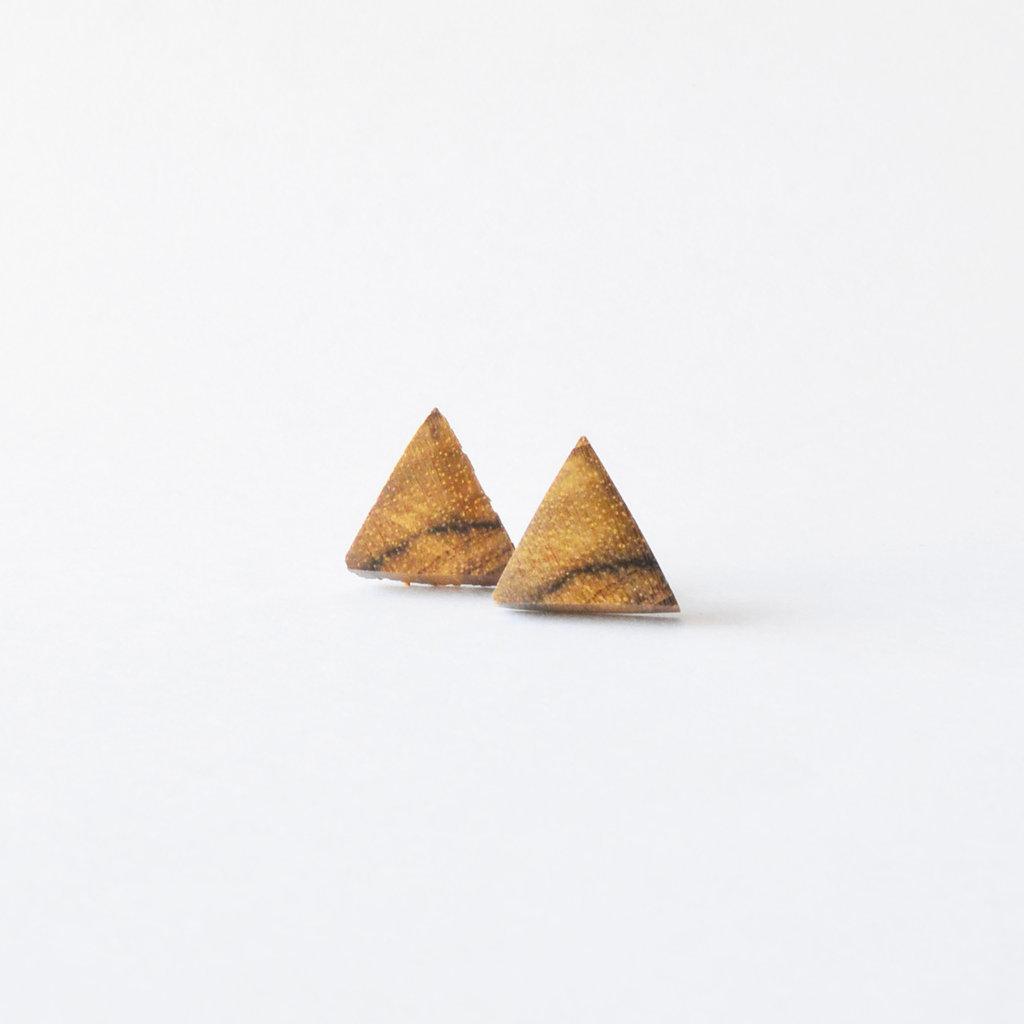 Orecchini triangolari in legno, fatti a mano