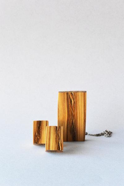 Parure orecchini collana rettangolo in legno, fatto a mano