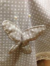TOVAGLIA in cotone a pois con farfalle fatta a mano