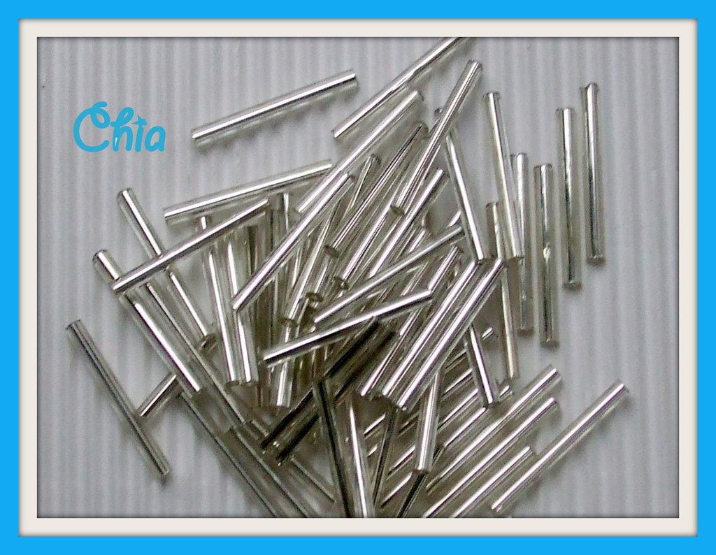 lotto 60 pz perline bugles color argento 25mm