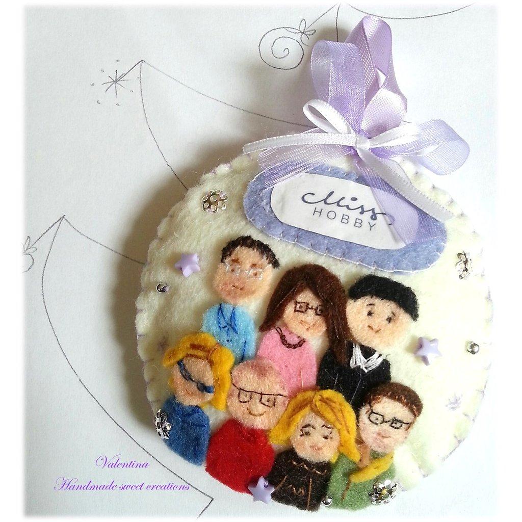 Addobbo Natale Famiglia Quadretto bambola personalizzata feltro