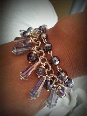 bracciale cristalli lilla