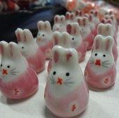 5 Perline Coniglietti ROSA Porcellana