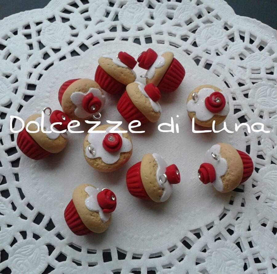 1 pezzo ciondolo cup cake rosso con rosa e strass natale 2cm