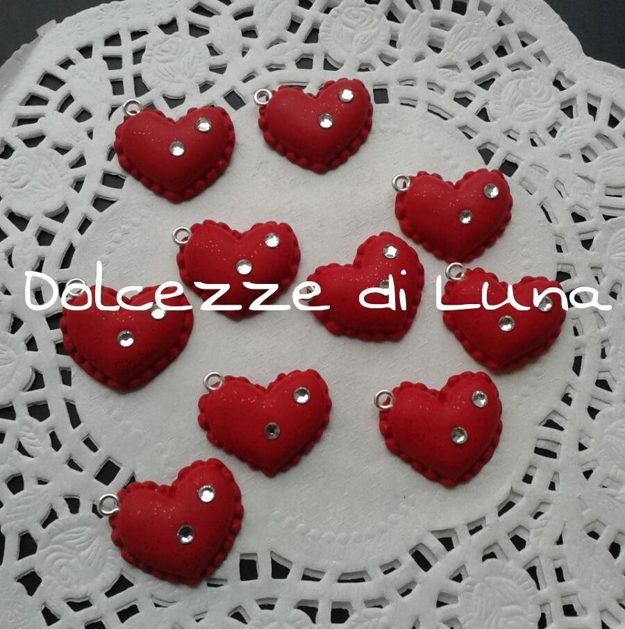 1 pezzo ciondolo in fimo cuore rosso con strass 2 cm