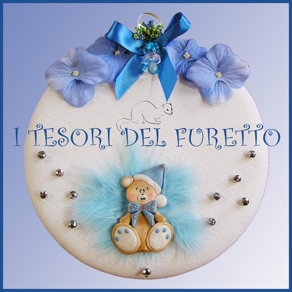 """Populaire Fiocco Nascita """"Fufuorsetto azzurro"""" coccarda nascita battesimo  KA83"""