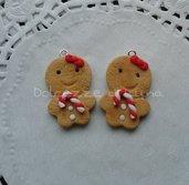 1 pezzi ciondolo ginger bread man in fimo natale misura piccola 3 cm per orecchini