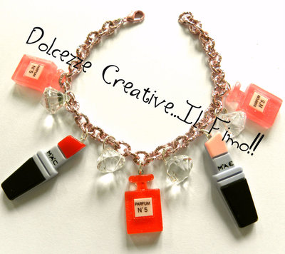 Bracciale Con Base Rosa, rossetti e profumi idea regalo Make up Artist M.A.C mac