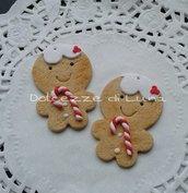 1 pezzi ciondolo ginger bread man in fimo natale misura 4,5 cm per collana