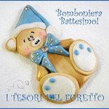 """Bomboniera Battesimo Nascita Magnete """"Fufuorsetto Azzurro"""" Orsetto  fimo cernit kawaii  economica magnete da frigo"""