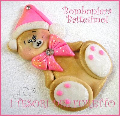 """Bomboniera  Battesimo Nascita Calamita """"Fufuorsetto rosa"""" Orsetto  fimo cernit kawaii  economica magnete da frigo femminuccia"""