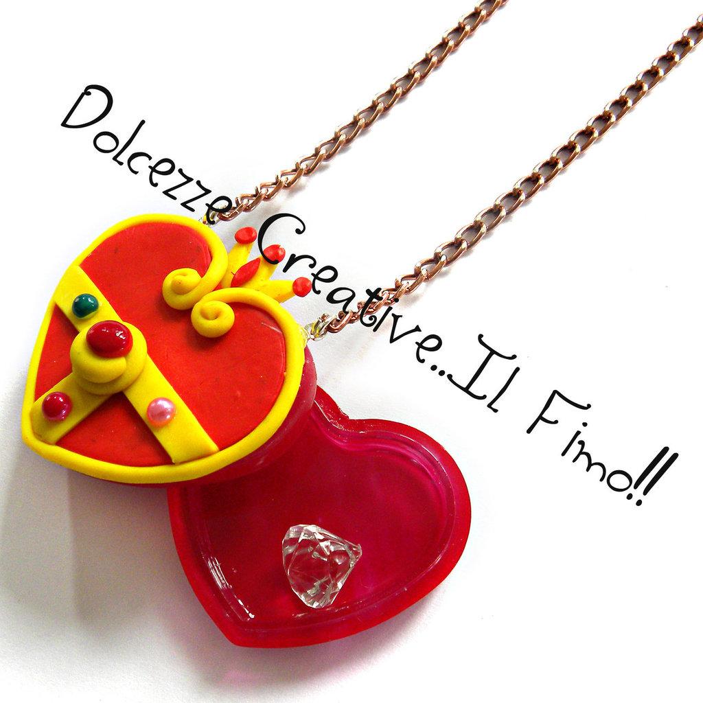 Collana Cristallo Del Cuore Di Sailor Moon con diamante idea regalo in fimo con perle COLLANA COLOR MARRONE