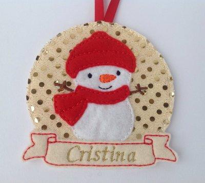 Ornamento personalizzato per albero di Natale - Pupazzo di neve