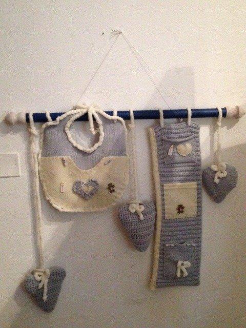 porta oggetti neonato, baby da parete, fatto a mano