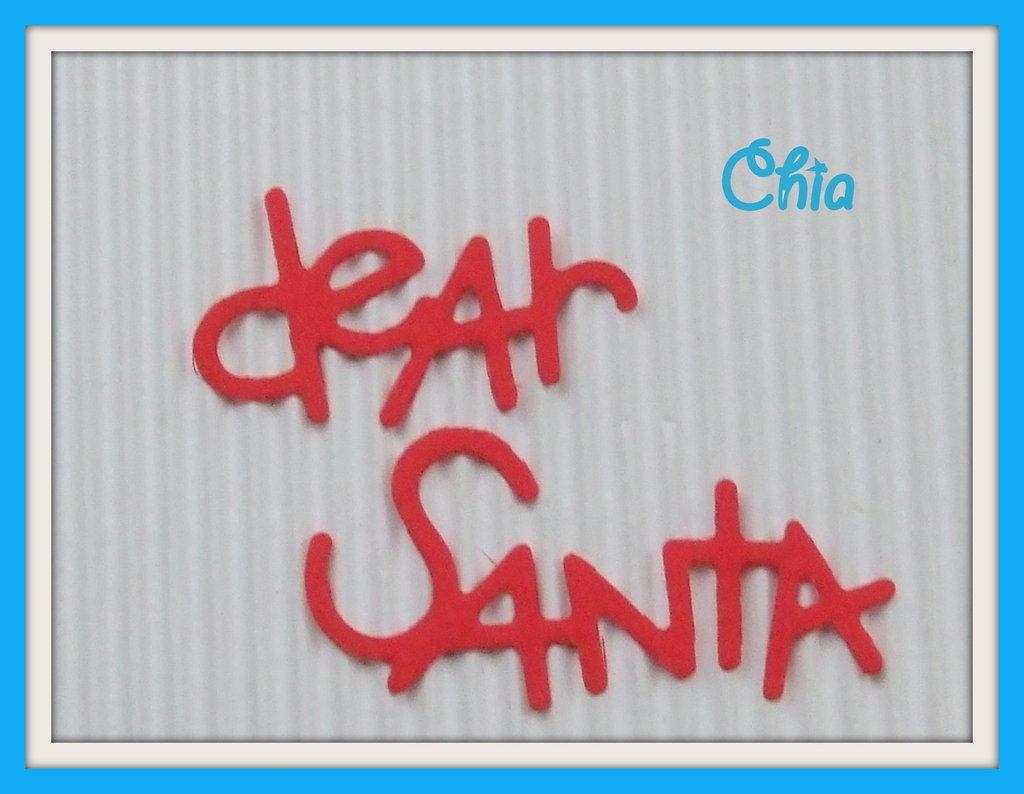 """5 scritte fustellate """"dear santa"""" in cartoncino rosso"""