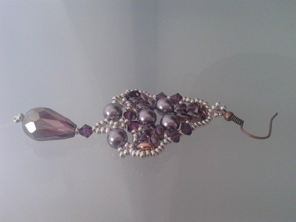 orecchini tessitura di perline con goccia sfaccettata rosa AB