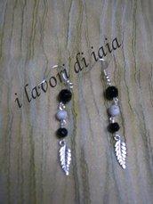 orecchini pendenti con foglia argento