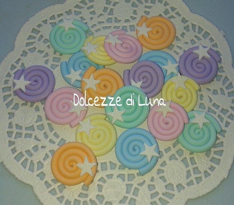 1 pezzo girella in fimo colorata con stella bianca cabochon per creazioni con panna 3 cm