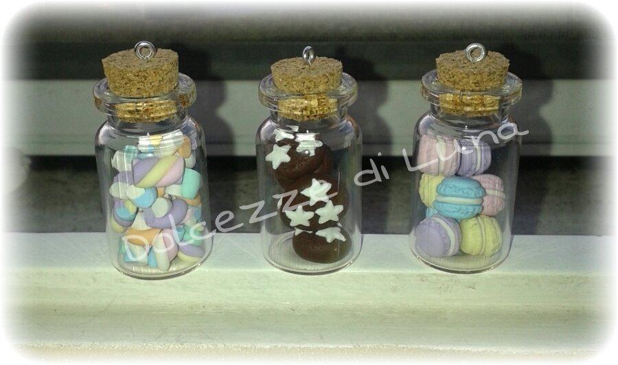1 pezzo boccetta bottiglietta miniatura con pan di stelle macaron o marshmallow per collana 4x2 cm
