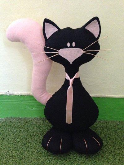 Fermaporta gatto con piedoni fatto a mano in pannolenci