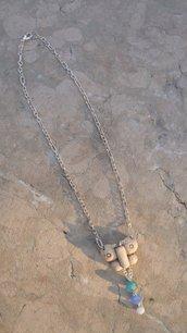 Collana corta con farfalla anticata in pasta polimerica