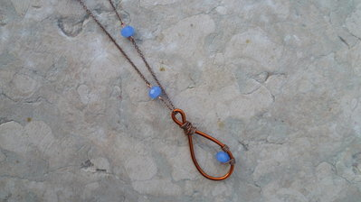 Collana rame e pietre azzurre